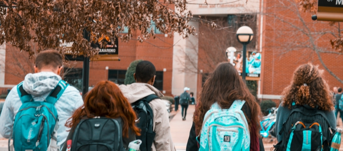 Students heading into a building